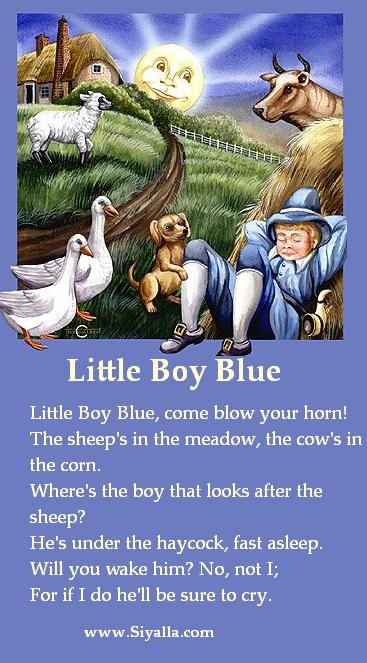 Little Boy Blue Nursery Rhymes Kids Poems For Best Collection From Siyalla