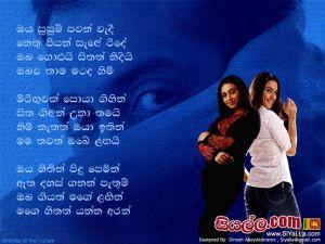 Oya Susum Pawan Wedi Nethu Piyan Sinhala Lyric