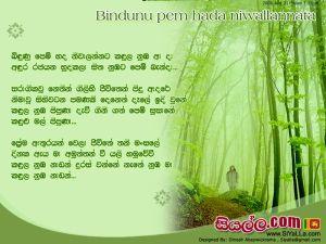 Bindunu Pem Hada Niwa Lannata Sinhala Lyric