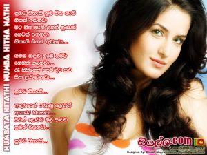 Numbata Hitathi Numba Hita Nathi Hitak Andanawa Sinhala Lyric