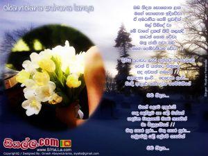 Oba Nidana Sohona Langa Mage Sohona Idi Wewa Sinhala Lyric