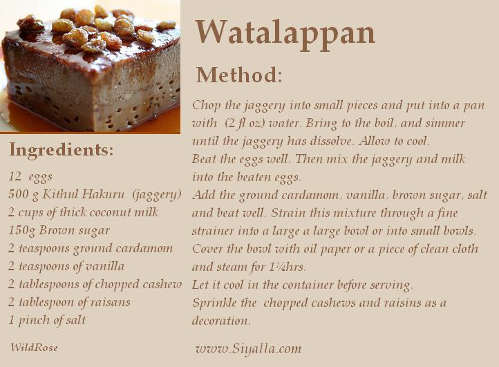 Sri Lankan Recipes Watalappan